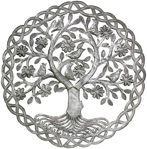 Global Crafts 24″ Recycled Hand-Painted Haitian Metal Wall Art Tree of Life