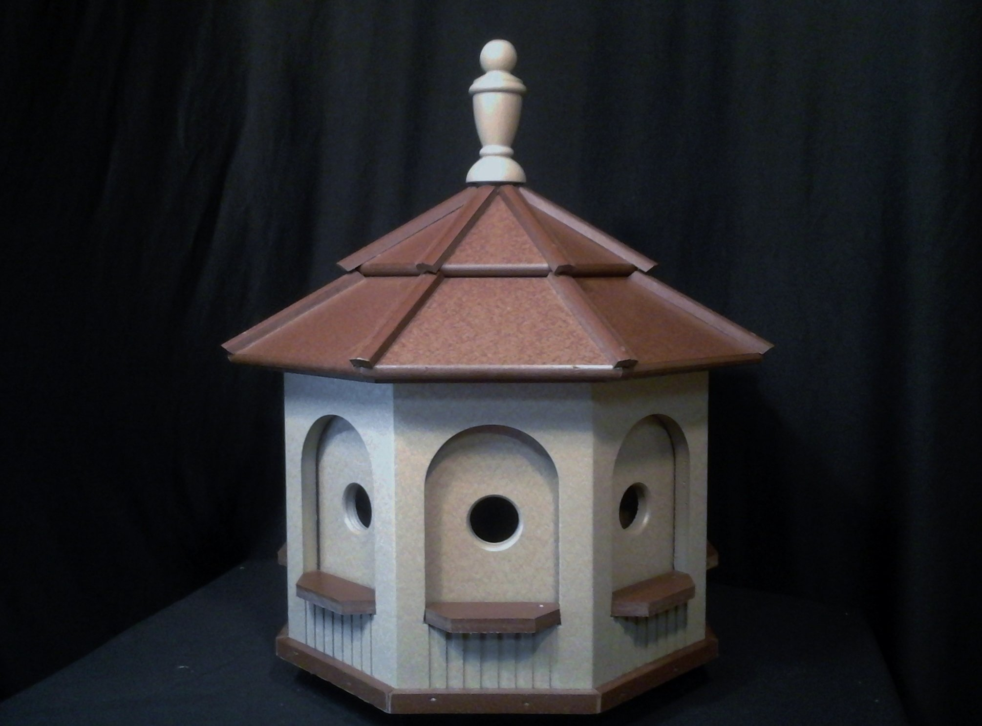 Large Poly Octagon Handcrafted Handmade Homemade Birdhouse Garden Clay & Brown Roof