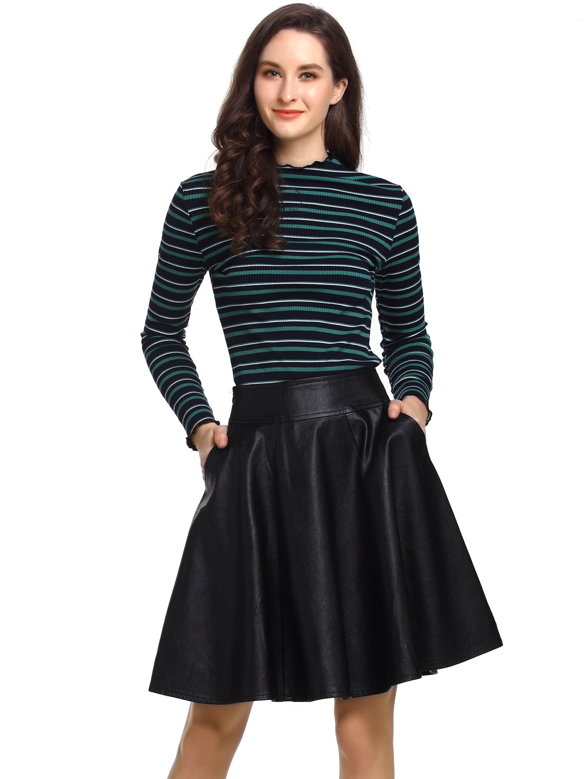 Beluring Womens Ladies Faux Leather Skirts A-Line Pleated Skirt with Pockets