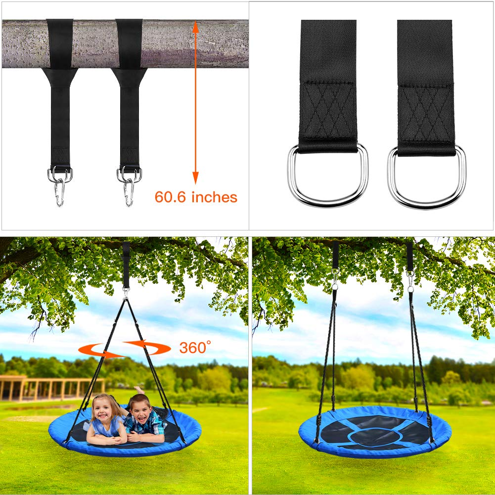 Tree Swing,Swing for Kids,40'' Large Round Outdoor Saucer Swing - 900D Oxford,500lbs Weight Capacity,2 Height Adjustable Straps & 2 Carabiners,Easy Installation - Ideal for Parties and Gifts by SilkRd (Image #6)