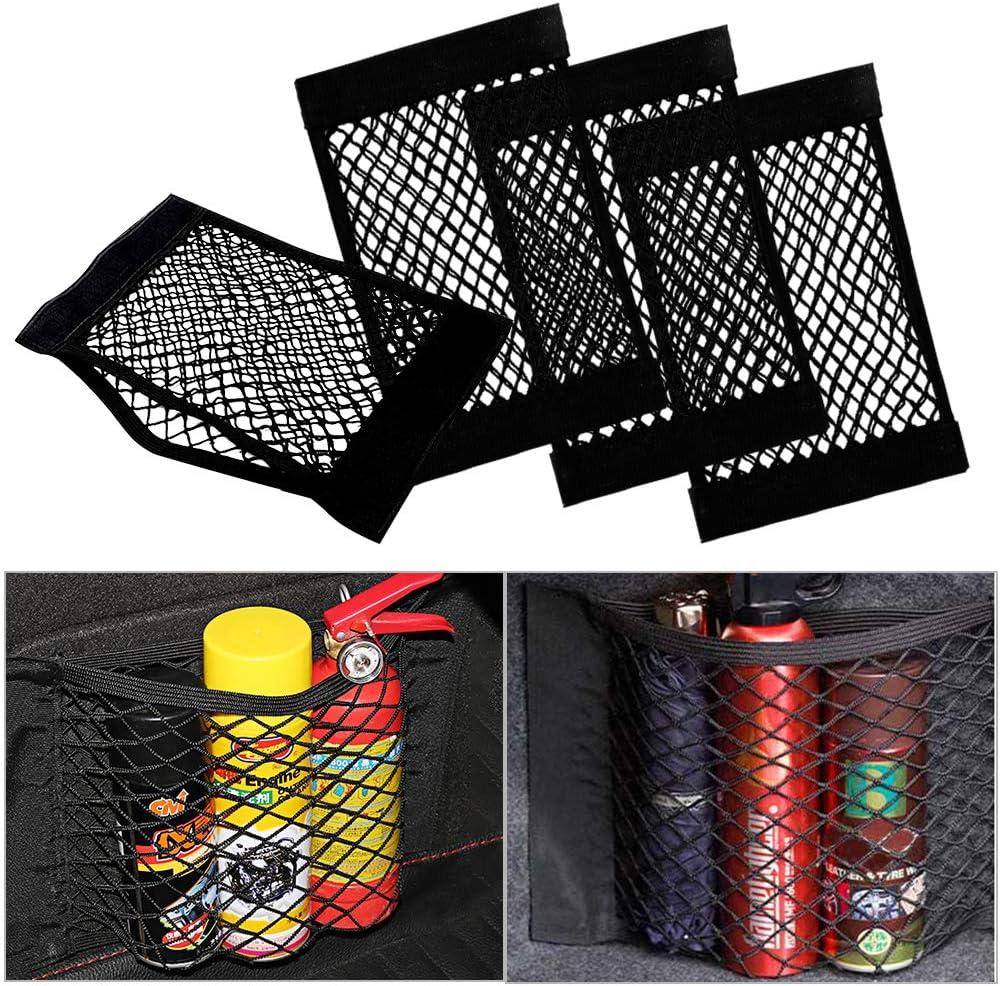 Warxin Almacenamiento para Tronco, Duradera Trunk Storage Net (4pcs) Malla Organizador de Coche Vehículo, Maletero de Coche Gran Capacidad de Carga Poliéster con Velcro Pocket Organizer(25×40cm)