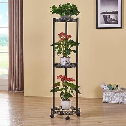 Flor de hierro estante balcón escalera estantería para plantas de maceta de suelo Modelo con rueda