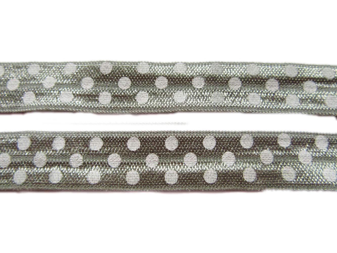 YYCRAFT Pack 10 Yards Gold Arrow Fold Over Elastic Stretch Foldover FOE Elastics for Hair Ties Headbands-Black