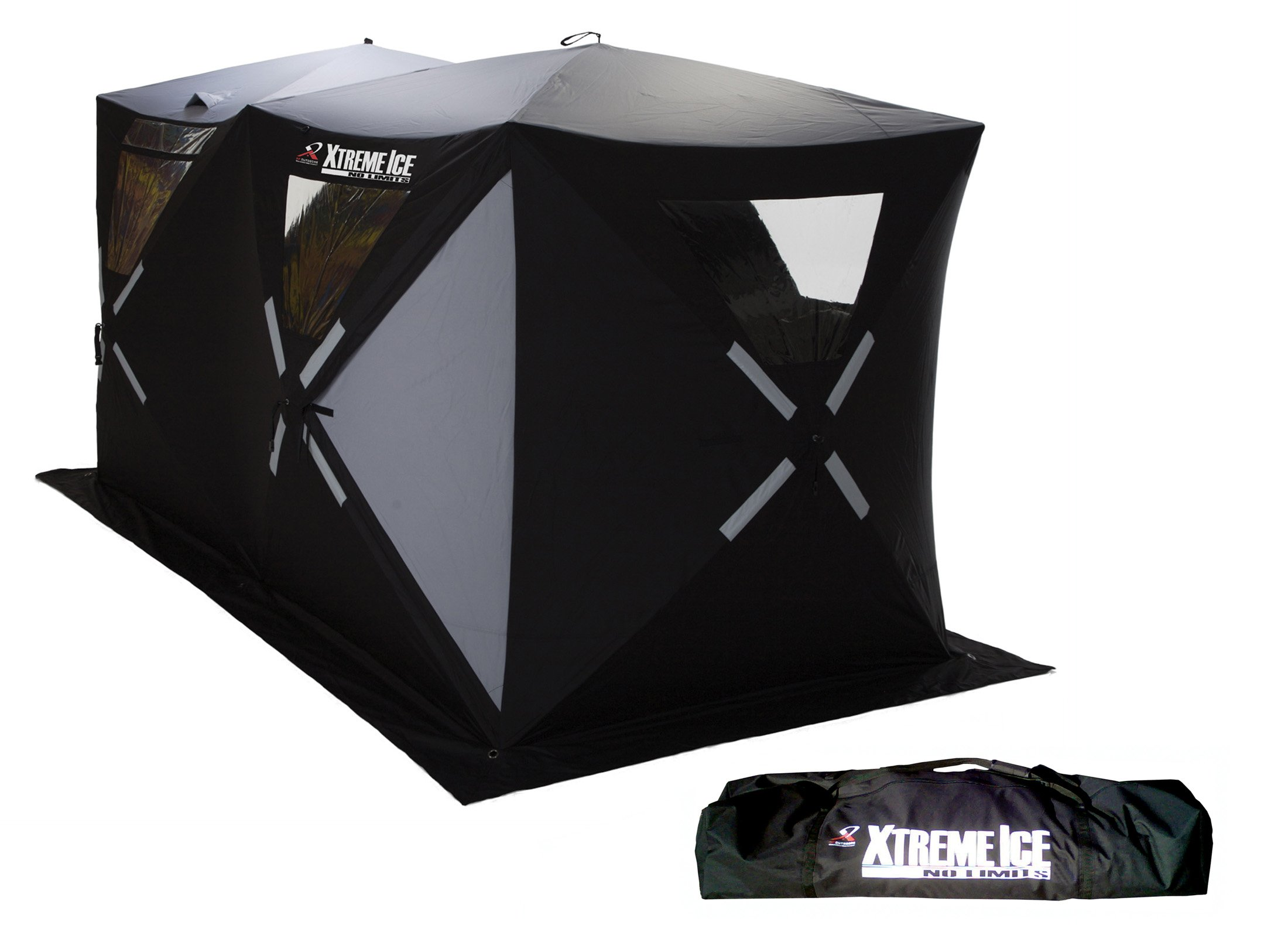 Ap Outdoors Xtreme Ice Xi6 Double Wide 6 Person Hub Style Pop-Up Ice Fishing Shelter (6 X 12-Feet ) by AP Outdoors