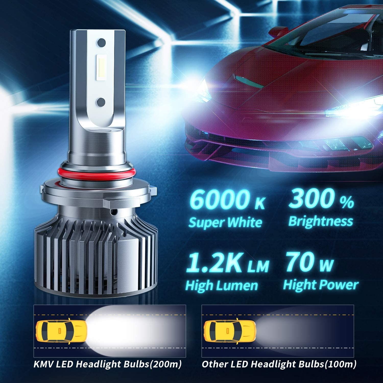 KMV H11 H8 H9 LED Headlight Bulbs,70W 12000lm 6000K Super Bright LED Headlights Bulb Conversion Kit Cool White IP68 Waterproof IP68,Pack of 2
