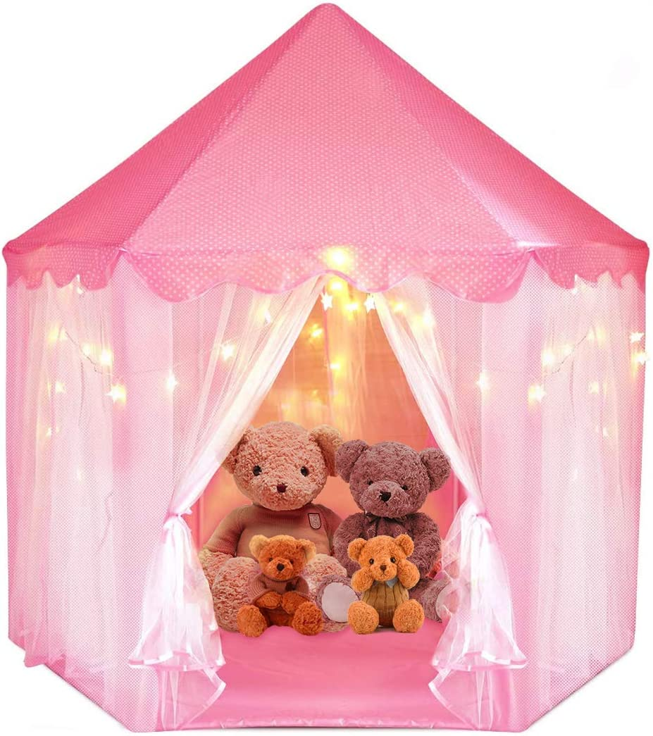 Dzanken Princess Castle Kids' Play Tents Fairy Princess House Pink Hexagon Kids Playhouses Indoor & Outdoor with Star Lights Great for Boys & Girls Birthday (Batteries Not Included)