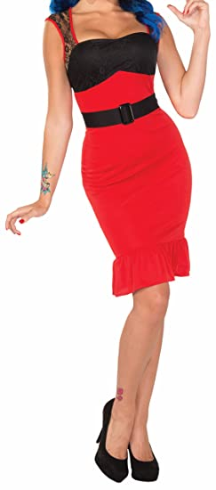 1950s Costumes- Poodle Skirts, Grease, Monroe, Pin Up, I Love Lucy Forum Novelties Womens Retro Rock Scarlet Rose Rockabilly Pin-Up Girl Costume $26.98 AT vintagedancer.com