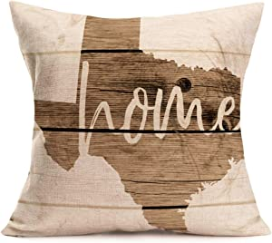 Asminifor Throw Pillow Covers Rustic Wood Style with Texas Map Geography Background Home Words Printed Decorative Pillow Cases 18x18 Inch Cotton Linen Home Office Decor Cushion Cover (Home Map)