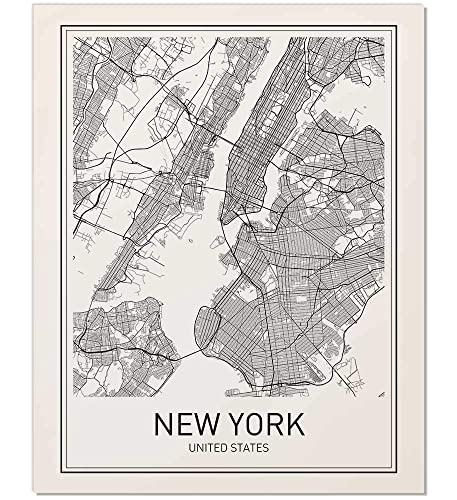 New York Map Black And White.Amazon Com New York Poster New York Map New York City City Map