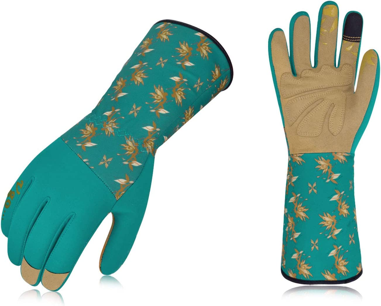 Vgo 1-Pair Women's Synthetic Leather Long Cuff Rose Garden Gloves (Size S, Blue, SL7453)