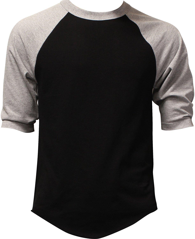DealStock Casual Raglan Mens 3/4 Sleeve Tshirt Baseball Cotton Jersey S-3XL (17+ Colors)