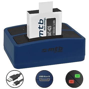Batería + Cargador doble (USB) para cámara deportiva Rollei ...