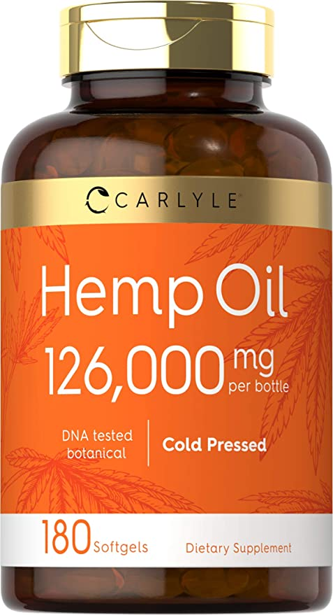 Hemp Oil Capsules | 126,000 mg | 180 Softgels | Non-GMO, Gluten Free | by Carlyle