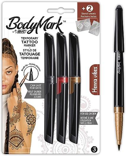 BodyMark by BIC - Marcadores y Plantillas para Tatuajes Temporales, Kit Henna Vibes, Pack de 3+2, Multicolor: Amazon.es: Oficina y papelería