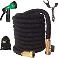 2019 Expandable Garden Hose | Strongest Expanding Triple Layer Core | Durable Nylon | Solid Brass Fittings/Shut Off Water Valve | 8 Way Nozzle | Stainless Steel Holder | Gift/Storage Bag