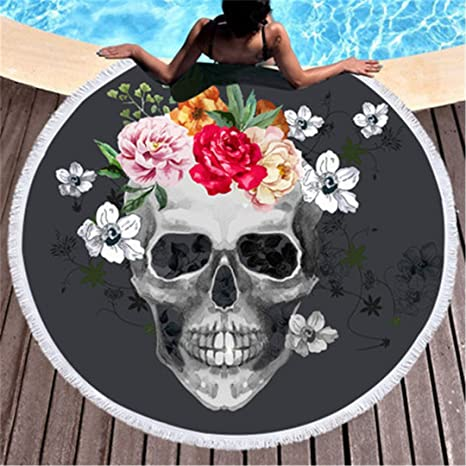With Flower Skull Tassel Beach Towel Large Round Boho Tapestry For Adults Kids Sunblock Towel Toalla