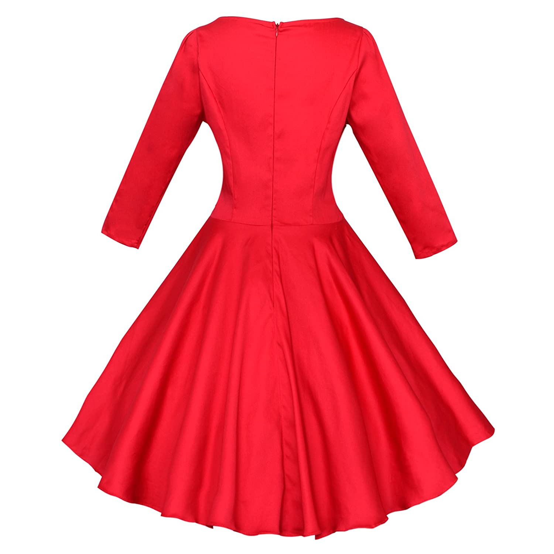 Amazon.com: Maggie Tang Audrey Hepburn 3/4 Sleeve 1950s Vintage Rockabilly Full Circle Dress: Clothing