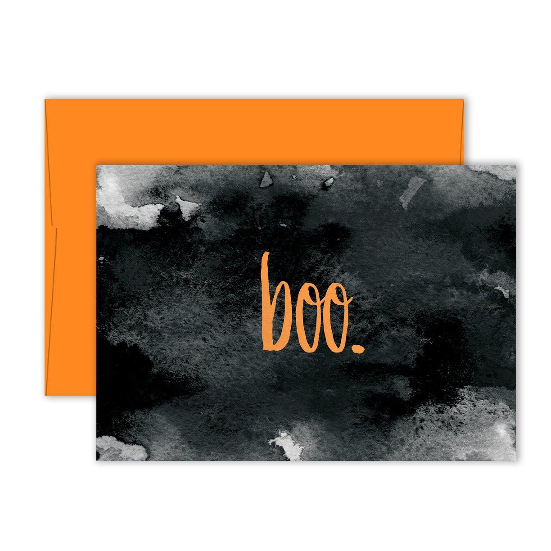 BOO! Spooky Halloween Party Invitations (Set of 12 Invitations + 12 Orange Envelopes) - By Palmer Street Press