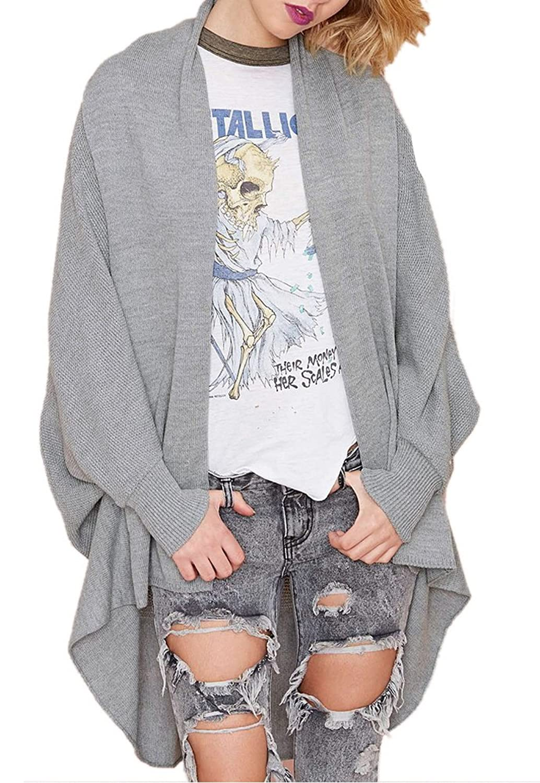 Enlishop Women's Grey Irregular Draped Open Front Loose Knit Cardigan Sweater