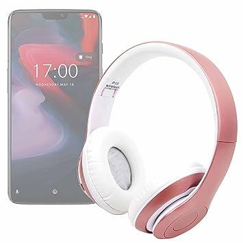 DURAGADGET Auriculares Plegables inalámbricos en Color Rosa para Smartphone OnePlus 6