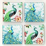 """Bits and Pieces - Set of Four (4) Premium Peacock Fridge Magnets - Hang Decorations on Your Refrigerator With 2"""" x 2"""" Magnets"""