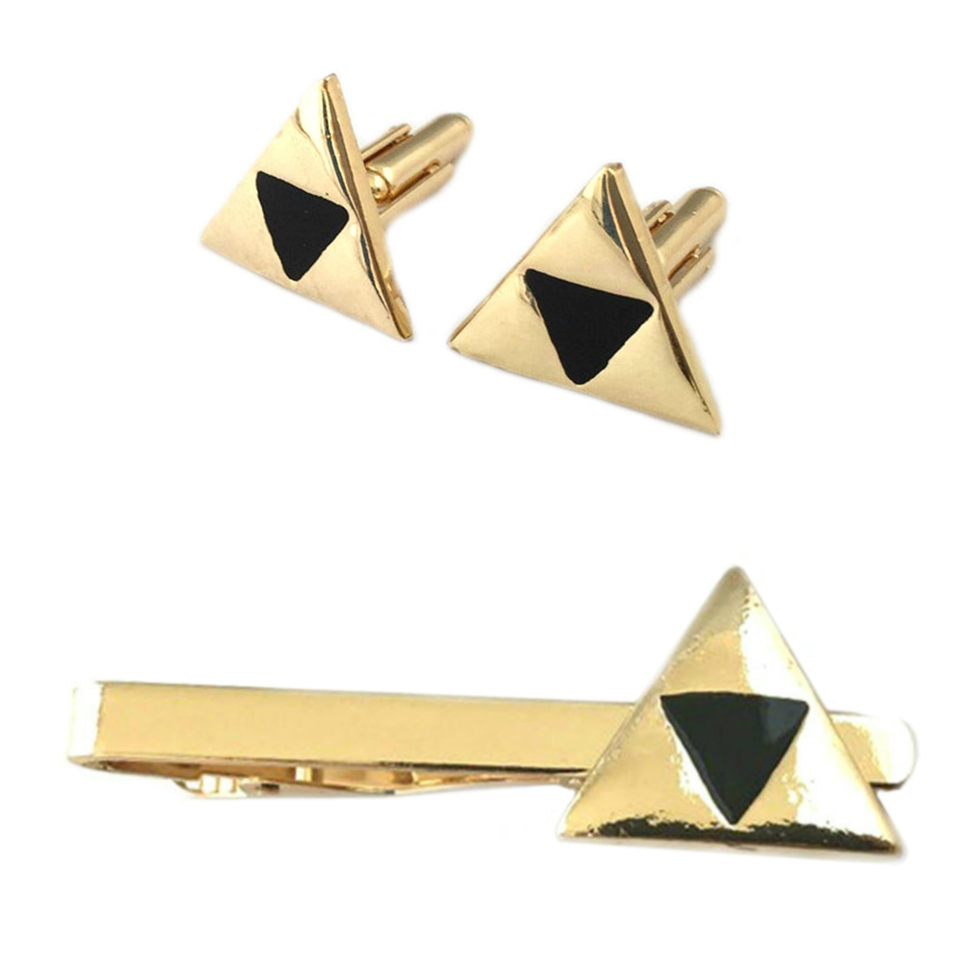 Outlander Legend of Zelda Triforce Cufflink & Tiebar - New 2018 Superhero Games - Set of 2 Wedding Logo w/Gift Box