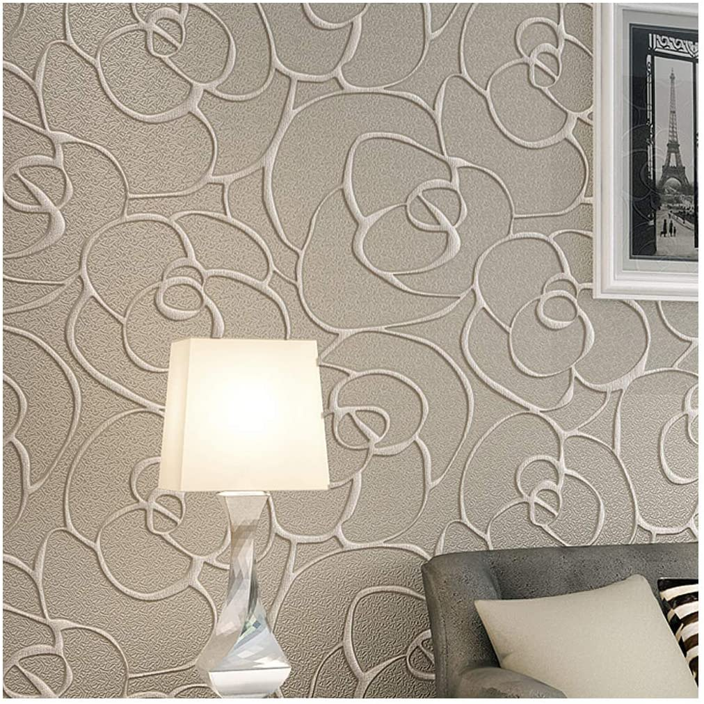 qihang modern minimalist embossed 3d rose flower non woven wallpaper cream gray color 0 53m 1 738 w x 10m 32 8 l 5 3 57 sq ft amazon com qihang modern minimalist embossed 3d rose flower non woven wallpaper cream gray color 0 53m 1 738 w x 10m 32 8 l 5 3 57 sq ft