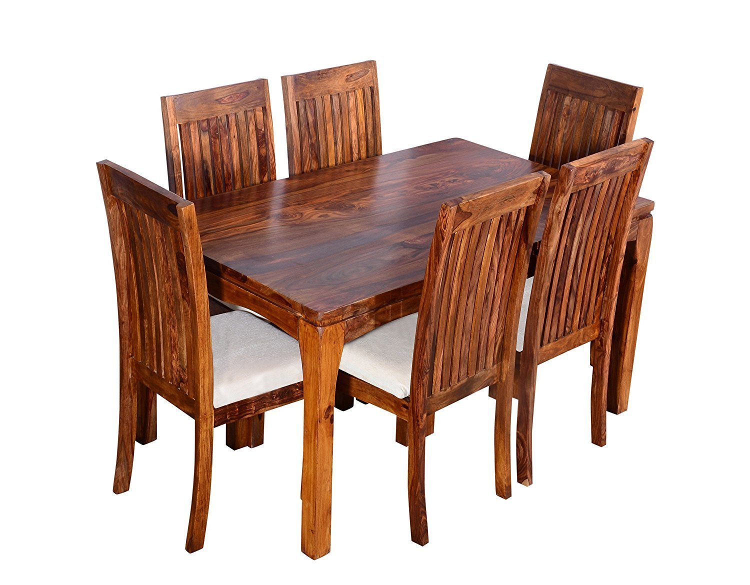 C k handicrafts teak finished solid sheesham wood 6 seater dining table set with curvy chair