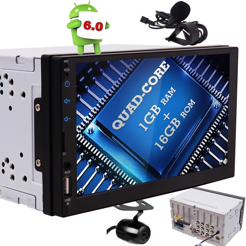 EinCar 7インチのLEDバックライト付きのタッチは、内蔵のBluetooth、外部マイク&USB/のmicroSDポート、ワイヤレスリモート、バックアップカメラ付きダブルディンカーステレオアンドロイド6ダブル衛星GPSナビゲーション画面 B07D7NP21F