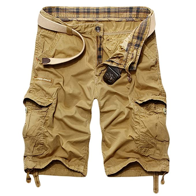 7a72a67077 Image Unavailable. Image not available for. Color: MLG Men's Baggy Fit  Multi Pocket Cargo Shorts Asia 34 Khaki