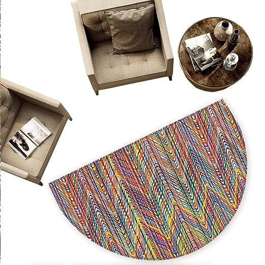 Felpudo abstracto semicírculo con rayas coloridas, forma ...
