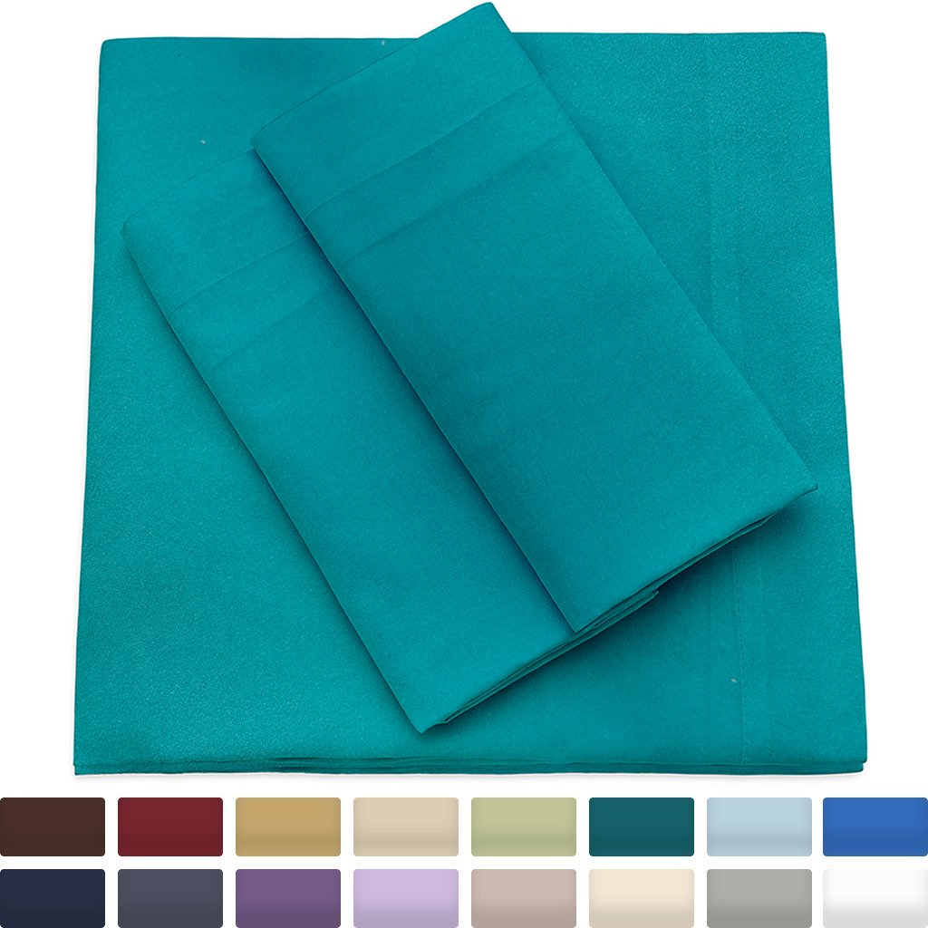 Cosy House Collection Premium Bamboo Sheets - Deep Pocket Bed Sheet Set - Ultra Soft & Cool Bedding - Hypoallergenic Blend from Natural Bamboo Fiber - 4 Piece - Full, Turquoise