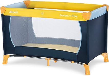 Hauck Dream N Play Plus 603666 Lettino da Viaggio 3 Pezzi 120 x 60 cm per Neonati e Bambini Fino a 15 Kg con Materasso, Borsa di Trasporto e Apertura Pieghevole Stabile Navy Aqua (Blu)