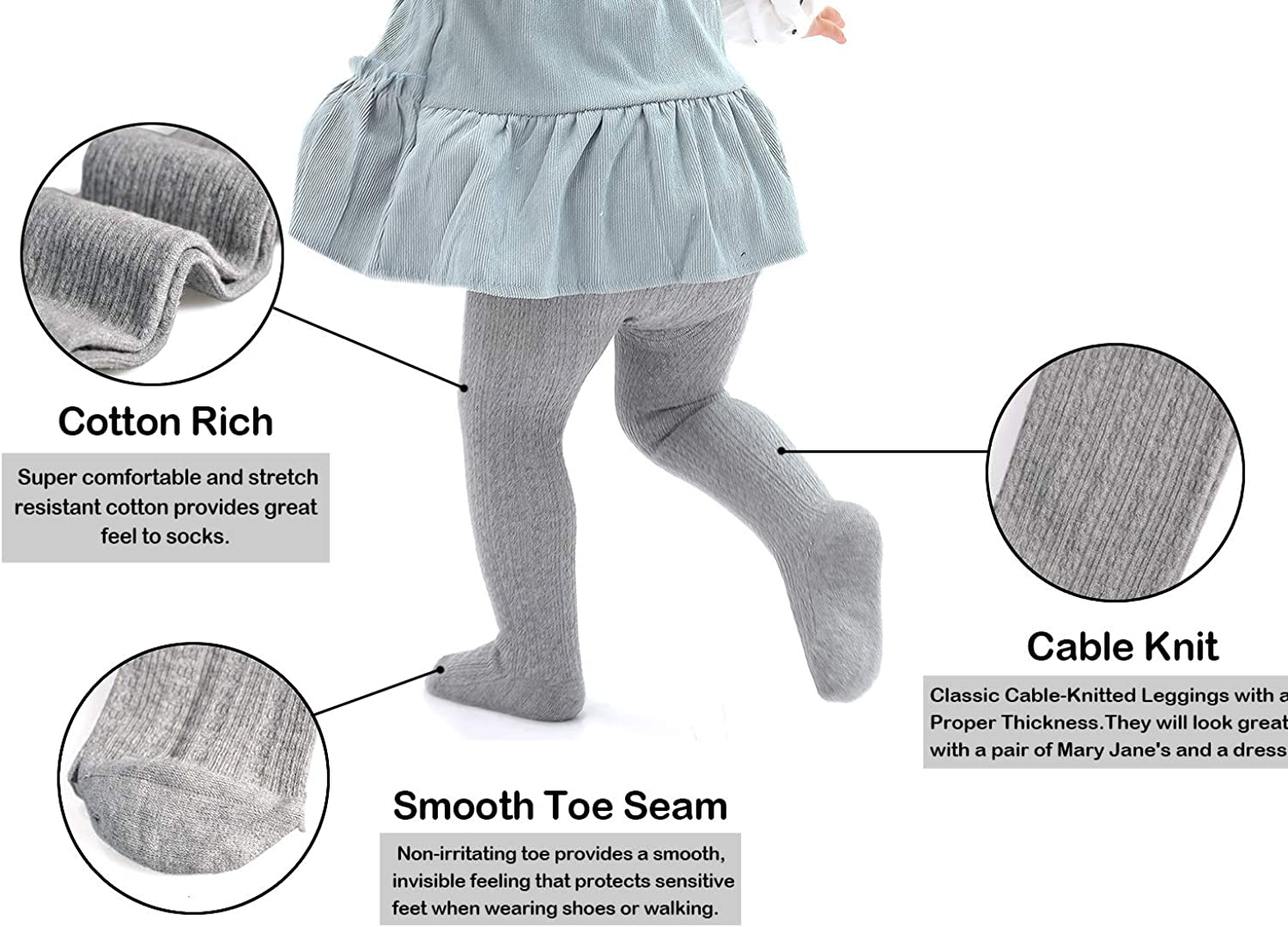 Epeius Baby Girls Tights Cable Knit Leggings Stockings Cotton Pantyhose for Newborn Infants Toddlers 3/6 Pack: Clothing