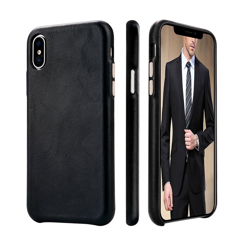 purchase cheap c6640 a86bc iPhone X Leather Case TOOVREN iPhone X/XS Genuine Leather Cover Case  Protective Ultra Thin Vintage Anti-Slip Grip Shell Hard Back Cover for  Apple ...
