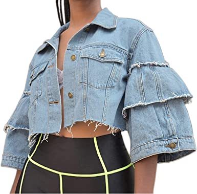 Womens Round Neck Short Denim Jean Jacket Short Sleeve Button Coat Summer 2019