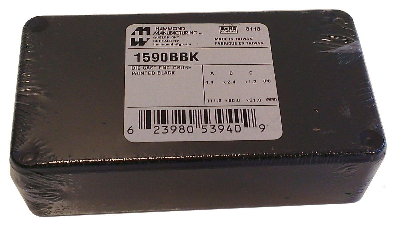 Hammond 1590BBK Black Diecast Aluminum Enclosure -- Inches (4.39'' x 2.34'' x 1.06'') mm (112mm x 60mm x 27mm)