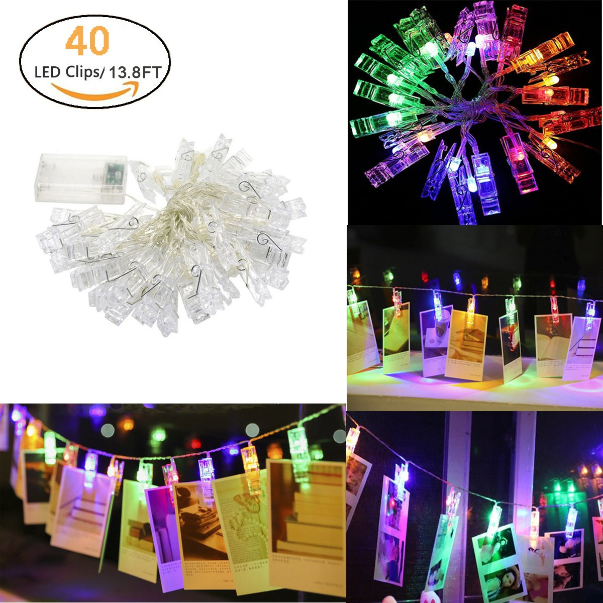 40 Leds Photo Clip String Lights, Vivian Battery Operated Indoor Fairy String Lights Hanging Photos Picture Display LED Light for Wedding Party Christmas Home Decor 13.8 Feet (Coloured)