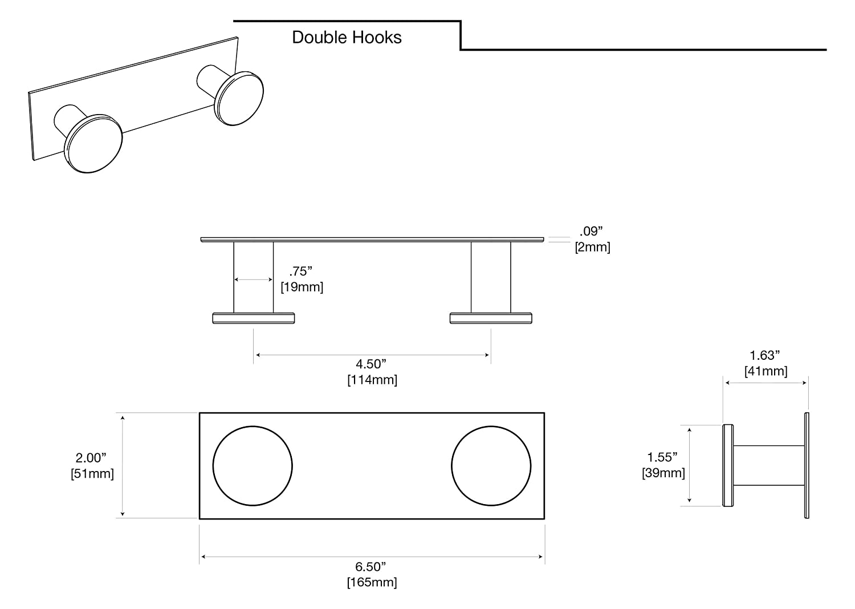 Gatco 1284MX All Modern D/écor Hook Double Matte Black