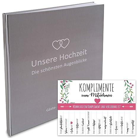 Lionsports Premium Gästebuch Zur Hochzeit Mit Herzen 24 X 22 Cm 160 Weiße Seiten Für Wünsche Und Als Fotoalbum Perfektes Hochzeitsalbum Um