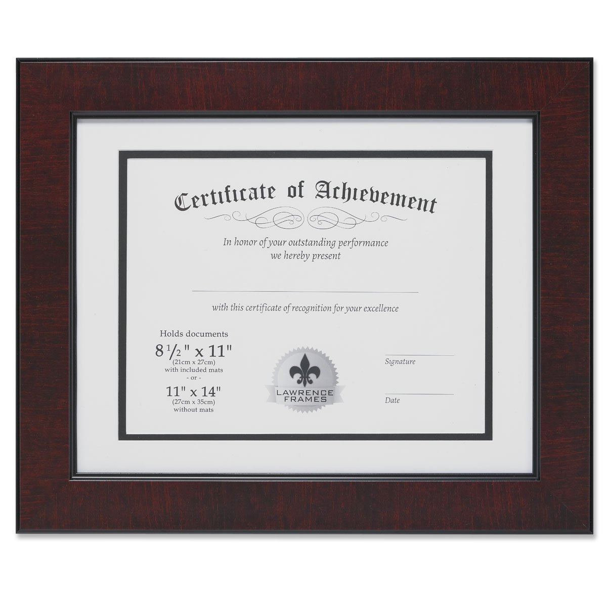 Lawrence Frames Dual Use Faux Burl 11 14-Inch Certificate Picture Frame Double Bevel Cut Matting 8.5 11-Inch Document, Mahogany