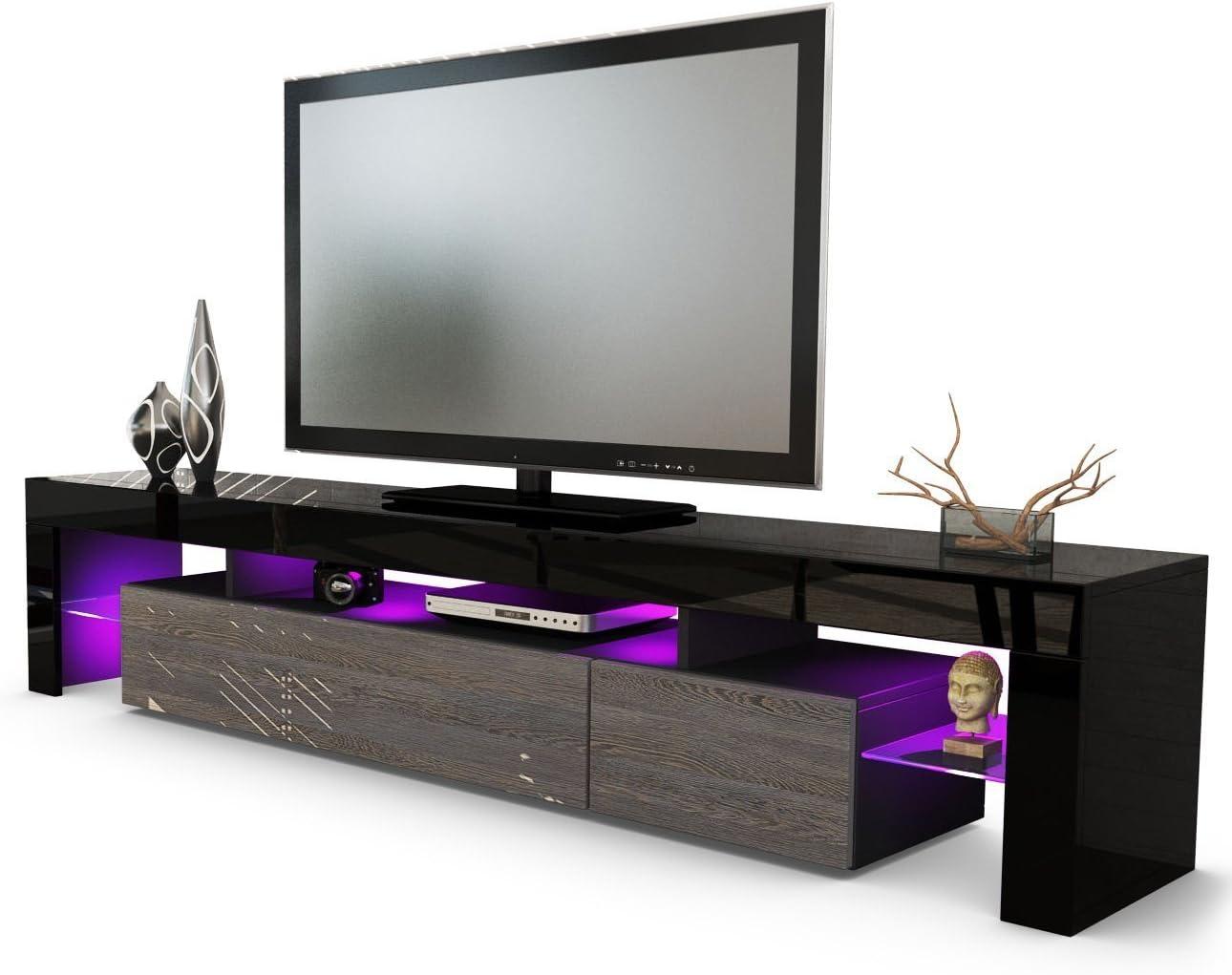 kofkever - Mueble para TV - Modelo Vivaldi - Color negro y wengué - Mueble para TV ideal para el salón moderno: Amazon.es: Hogar