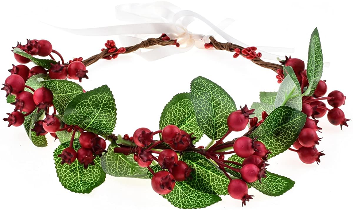 Floral Fall Christmas Flower Crown Vintage Nature Berries Festival Woodland Wedding Headband HD-02