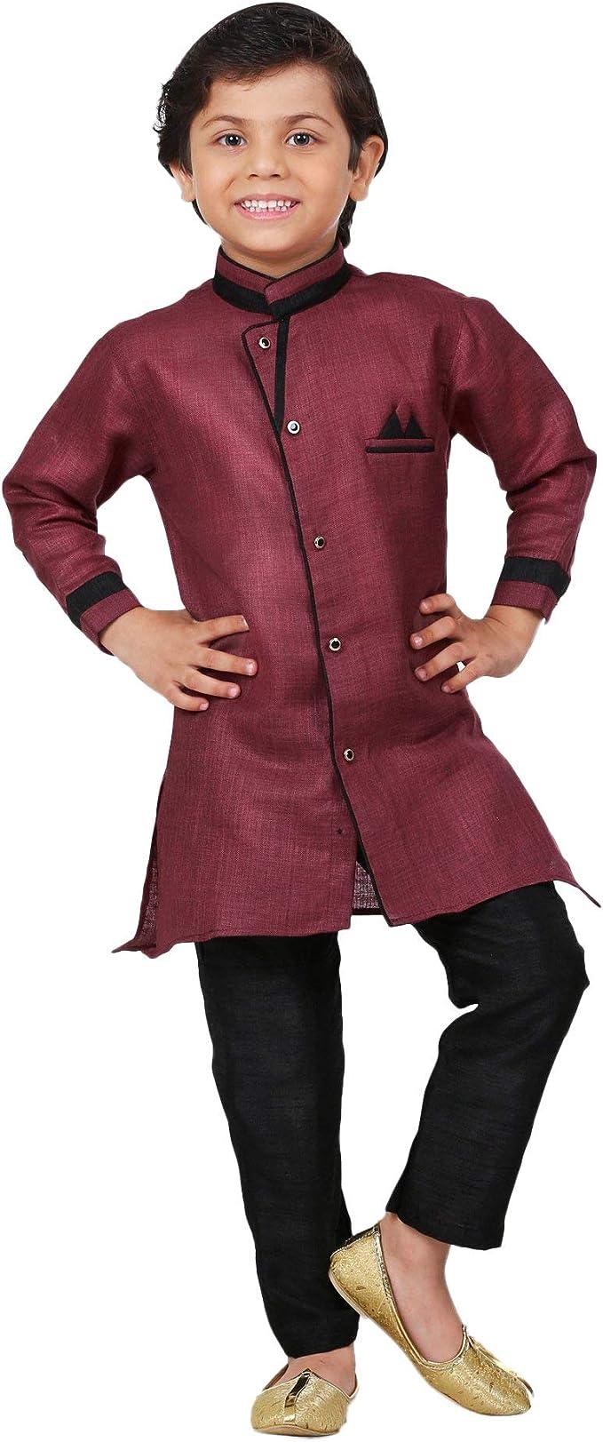 Kids Indian Ethnic Dupion Kurta Pyjama Waistcoat Set for Boys Festival Wear