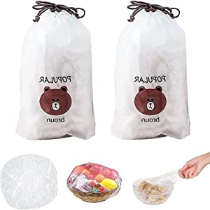 2021 Fresh Keeping Bags, 200Pcs Reusable Elastic Food Storage Covers, Plastic Bowl Covers with Elastic Edging Stretch Universal Kitchen Plastic Wrap Bowl Covers