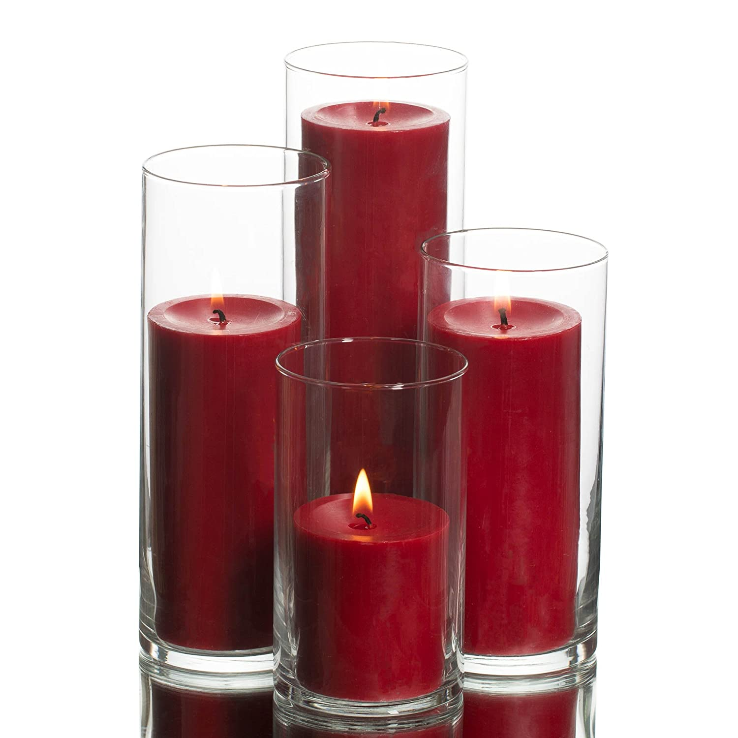 Clear Cylinder Candle Holders & Red Pillar Candles Set of 4