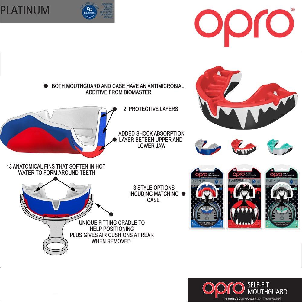 Fu/ßball Kontakt Sport/ /mit 18/Monat Dental Garantie Opro Platinum Formbarkeit Mundschutz MMA f/ür Rugby Hockey Blue//Pearl//Red Boxen Martial Arts