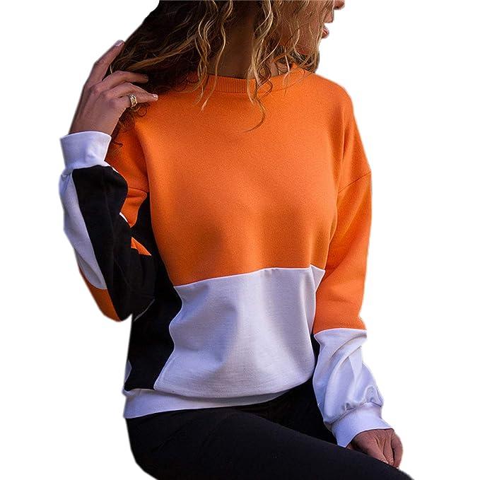 Primavera y Otoño Mujeres Sudaderas Joven Moda Cuello Redondo Manga Larga Camisetas Sweatshirt Jumpers Suéter Casual Patchwork T-Shirt Blouses Tops Jerséis: ...