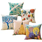 Sykting Throw Pillow Covers 18 x 18 Square Pillow Cases Set of 5 Printing Series Couch Pillow Cases Cotton Linen