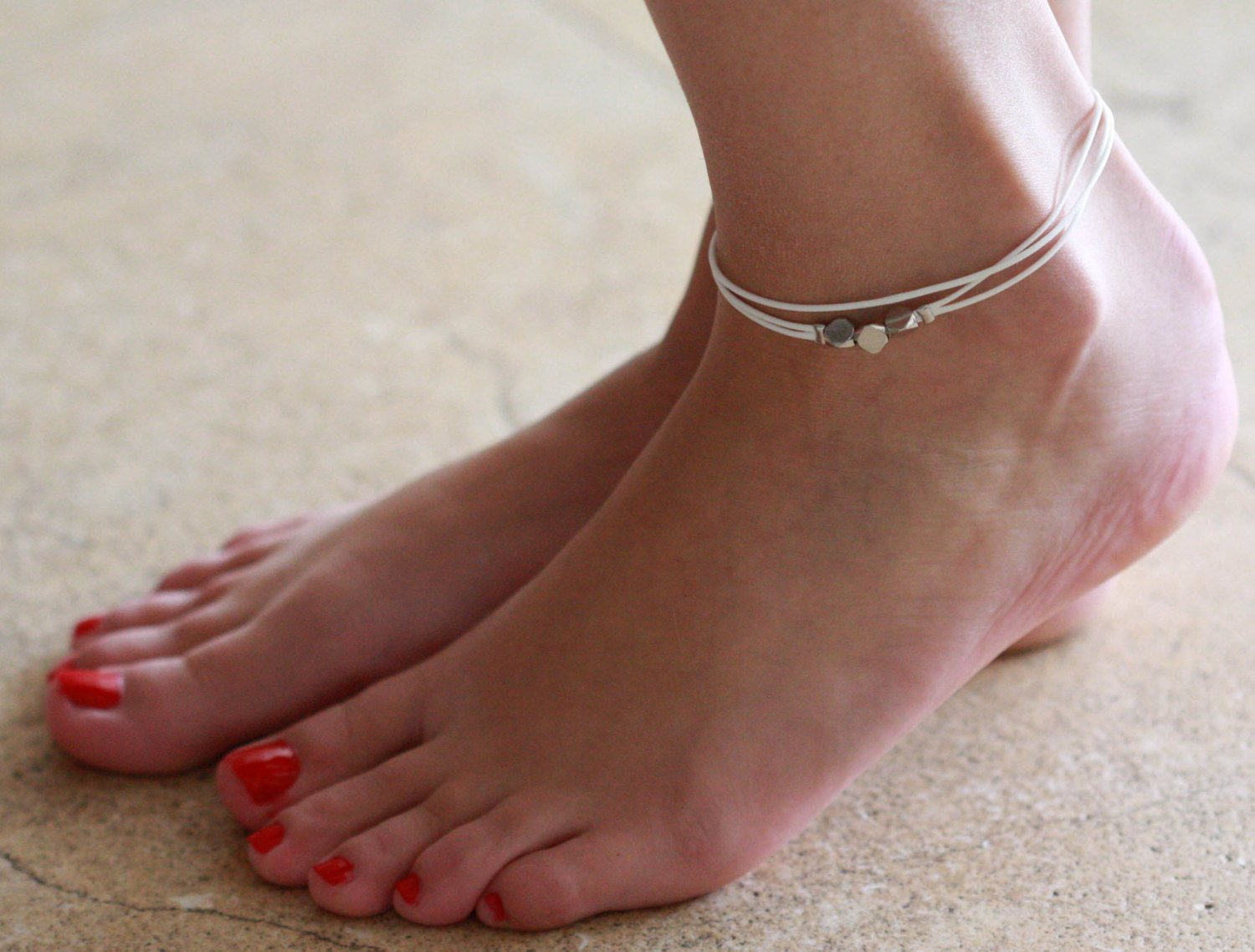 Handmade White Anklet For Women Set With 3 Silver Plated Beads By Galis Jewelry - White Ankle Bracelet For Women - Beaded Anklet